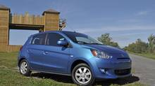 The 2014 Mitsubishi Mirage's low sticker price may entice bargain seekers. (Michael Bettencourt for The Globe and Mail)