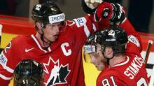 Canada's Steven Stamkos celebrates his goal against Denmark with teammates during their 2013 IIHF Ice Hockey World Championship preliminary round match at the Globe Arena in Stockholm May 4, 2013. (ARND WIEGMANN/REUTERS)