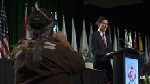 Prime Minister Justin Trudeau speaks to the AFN Special Chiefs assembly in Gatineau, Que., Tuesday December 6, 2016. (Adrian Wyld/THE CANADIAN PRESS)