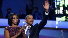 U.S. President Barack Obama celebrates with first lady Michelle Obama after accepting the 2012 U.S Democratic presidential nomination during the final session of Democratic National Convention in Charlotte, North Carolina, September 6, 2012. (Jim Young/REUTERS)