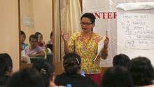 Delima Saraghi leads a training class on campaigning to female candidates in Rangoon. (Htoo Tay Zar For The Globe and Mail)