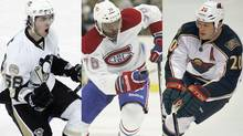Kris Letang of the Pittsburgh Penguins, P.K. Subban of the Montreal Canadiens and Ryan Suter of the Minnesota Wild