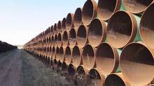 A yard in Gascoyne, N.D., which has hundreds of kilometres of pipes. (Alex Panetta/THE CANADIAN PRESS)