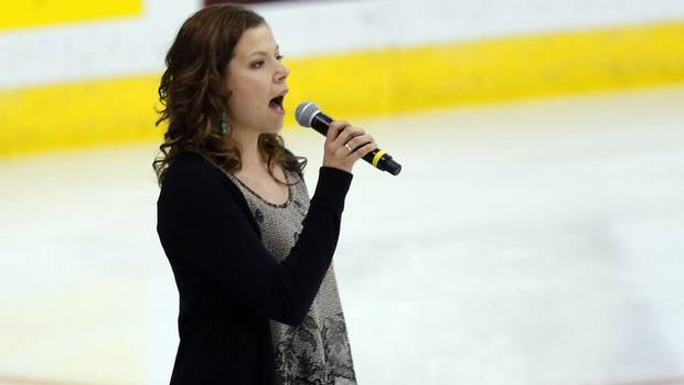Alexis Normand sings the national anthem before the Halifax Mooseheads played the London Knights during the Memorial Cup Canadian Junior Hockey Championships in Saskatoon, Saskatchewan, May 21, 2013. (TODD KOROL/REUTERS)