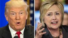 This photo combo of file images shows U.S. presidential candidates Donald Trump, left, and Hillary Clinton. (Mary Altaffer / Chuck Burton/AP Photo)
