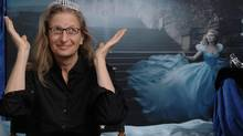 Photographer Annie Leibovitz poses in front of her image featuring Scarlett Johansson as Cinderella. Ms. Leibovitz is wearing the 62-carat, $325,000 Harry Winston diamond tiara worn by Ms. Johansson in the photograph (Kent Phillips)