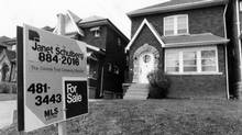 A realtor's sign from Toronto in 1986, a decade when interest rates on mortgages were often in the teens. Toronto-area house with a For Sale sign, March 21, 1986. Photo by Jeff Wasserman / For The Globe and Mail. Originally published April 18, 1986. (Jeff Wasserman For The Globe and Mail)