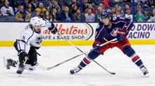 Los Angeles Kings' Drew Doughty tries to block a shot from Ryan Johansen on Dec. 8. (Kirk Irwin/Getty Images)