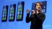 Joe Belfiore, corporate vice president of Microsoft, introduces the Windows Phone 8 mobile operating system in San Francisco, California, June 20, 2012. REUTERS/Noah Berger (NOAH BERGER/REUTERS)