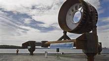 A large tidal power turbine rests at a metal fabrication plant in Dartmouth, N.S., on Sept. 23, 2009. (ANDREW VAUGHAN/THE CANADIAN PRESS)