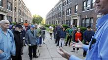 Tenants at a Malden, Mass., apartment complex gather June 17, 2012, for a meeting in their fight against proposed rent increases. (JESSICA RINALDI/Reuters)