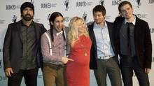 Walk Off The Earth poses on the green carpet before the 2013 Juno Gala, Dinner and Awards in Regina on Saturday, April 20, 2013. The band is up for a YouTube award. (Liam Richards/THE CANADIAN PRESS)