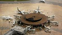 Passenger aircraft surround the satellite gates at Gatwick Airport (Macdiarmid/Getty Images)
