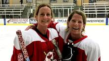 Beaver Dames forward Kim Foley, left, and teammate Rachel Shantz hug after Ms. Foley scored the only goal in a 1-0 win during a women's recreational hockey tournament in Phoenix in May. Foley, like many of her teammates, didn't start playing the game until later in life. (Kyla Bowman)