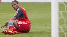 Toronto FC 's Ryan Johnson reflects on a missed second half goal scoring opportunity as his team's 1-0 defeat to Chivas USA extends their loosing start to the season to five games in MLS action in Toronto on Saturday April 14, 2012. (Chris Young/Chris Young/THE CANADIAN PRESS)