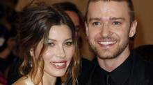 """Actress Jessica Biel and singer Justin Timberlake arrive at the Metropolitan Museum of Art Costume Institute Benefit celebrating the opening of """"American Woman: Fashioning a National Identity"""" in New York May 3, 2010. (Reuters)"""