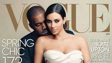 An image of Vogue's latest covering featuring Kanye West and Kim Kardashian.