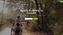 A screen grab of Spotify.ca (Spotify.ca)