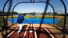 Toronto Blue Jays shortstop Troy Tulowitzki takes batting practice during spring training in Dunedin, Fla., on Sunday, Feb. 19, 2017. (Nathan Denette/THE CANADIAN PRESS)