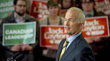 NDP Leader Jack Layton speaks to suporters at a campaign rally in Toronto on April 4, 2011. (Paul Chiasson/THE CANADIAN PRESS)