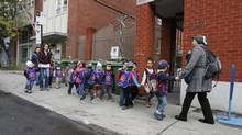 A Montreal daycare on an outdoor trip on Oct. 17, 2013. (Christinne Muschi For The Globe and Mail)