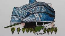 The Canadian Museum For Human Rights is shown in this undated sketch by Justin Trudeau. (Justin Trudeau/THE CANADIAN PRESS)