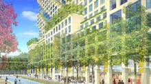 Parkside, by Moshe Safdie, East bayfront. Retail streetview. Credit Waterfront Toronto