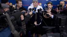 Team captain Dion Phaneuf talks with the media following an informal Toronto Maple Leafs practice in Toronto on Thursday January 10 , 2013. (Chris Young/THE CANADIAN PRESS)