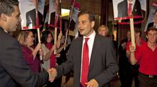 Prince Edward Island Liberal Leader Robert Ghiz greets supporters in Charlottetown on Oct. 3, 2011, after his party won a majority in the provincial election. (Andrew Vaughan/Andrew Vaughan/The Canadian Press)