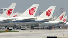 Air China planes parked at the Beijing airport (GREG BAKER)