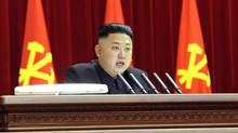 North Korean leader Kim Jong-un speaks during a plenary meeting of the central committee of the ruling Workers' Party in Pyongyang, North Korea, March 31, 2013. (Korean Central News Agency/AP)