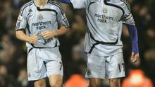 In this file photo, Newcastle United's Joey Barton, left, is congratulated by teammate Alan Smith (not picutred) after scoring a penalty goal against Fulham during their English Premier League soccer match at Craven Cottage, London, Saturday, Dec. 15, 2007. (SANG TAN/AP)