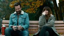 """Jason Sudeikis and Anne Hathaway plays characters whose relationship starts out with hope and humour but soon appear The director Nacho Vigalondo explores the evil side of men with an apt metaphor Jason Sudeikis, left, and Anne Hathaway appear in a scene from, """"Colossal."""" (AP)"""