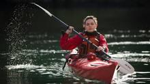 Avijaja Jepsen, 18, from Greenland, in kayak at Pearson College on Vancouver Island near Victoria February 08, 2012 after class. (JOHN LEHMANN/John Lehmann/The Globe and Mail)