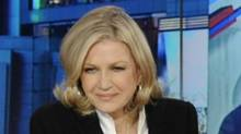This photo released by ABC shows Diane Sawyer, left, and George Stephanopoulos during election night coverage early Wednesday, Nov. 7, 2012, from ABC News' Times Square Studios in New York. (DONNA SVENNEVIK/AP/NBC)