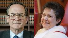 Supreme Court's Mr. Justice Ian Binnie, on Feb. 7, 2003, left, and Madam Justice Louise Charron, on Oct. 4, 2004. (Dave Chan/The Globe and Mail; Jonathan Hayward/Canadian Press)