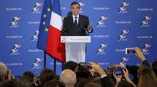 Francois Fillon, former French prime minister and member of Les Republicains political party, delivers his speech after partial results in the second round for the French center-right presidential primary election in Paris, France, November 27, 2016. Fillon, a socially conservative free-marketeer, is to be the presidential candidate of the French centre-right in next year's election, according to partial results of a primaries' second-round vote showed on Sunday. (PHILIPPE WOJAZER/REUTERS)
