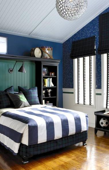 GIVE STORAGE AREAS THE TROPHY-CASE TREATMENT: This bed is flanked by a pair of black-painted freestanding bookshelves that keep personal items close at hand. Connected by an upper shelf and a piece of V-groove panelling, the customized surround gives the teen's collections visual heft and an air of importance (and creates the perfect nook for a headboard). Sources: Bookcases used for headboard and bench, Crate & Barrel (www.crateandbarrel.com). V-groove panelling (on headboard and ceiling) and chair rail, Brenlo Ltd. (www.brenlo.ca). Headboard light fixture, Sescolite (www.sescolite.com). Custom blinds, Blinds To Go (www.blindstogo.com). (Stacey Brandford for The Globe and Mail)