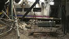 This Oct. 1, 2016, file photo, provided by the National Transportation Safety Board shows damage done to the Hoboken Terminal in Hoboken, N.J., after a commuter train crash. (Chris O'Neil/AP)