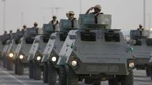 Saudi forces in a graduation ceremony in Riyadh on Tuesday. Amnesty International is pressing the Conservative government for information on an arms deal with Saudi Arabia. (FAISAL AL NASSER/REUTERS)