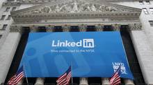 A banner announcing the LinkedIn Inc. listing on the New York Stock Exchange. VOX columnist David Milstead thought LinkedIn was overvalued in May, 2011. The stock is up about 470 per cent since then. (MIKE SEGAR/REUTERS)