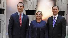 Ontario Liberal Leader Dalton McGuinty, left, NDP Leader Andrea Horwath, centre, and Progressive Conservative Leader Tim Hudak. (MARK BLINCH/Mark Blinch/Reuters)
