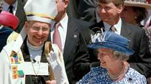 Most Reverend Terence Finlay, Anglican archbishop of Toronto and Metropolitan of the ecclesiastical province of Ontario, with Queen Elizabeth II following a Sunday service at the Cathedral of St. James in Toronto in June of 1997. (Frank Gunn/CP)