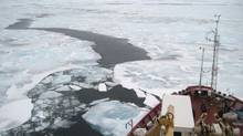 The Canadian Coast Guard Ship Amundsen parks on an ice floe in the Beaufort Sea earlier this month. (Ivan Semeniuk/The Globe and Mail)
