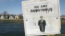 A stencilled Anonymous sign is seen in Dartmouth, N.S. on Thursday, April 11, 2013. The reference is to an anonymous hacker group. (Andrew Vaughan/THE CANADIAN PRESS)