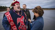 Premier Christy Clark and Dallas Smith is president of the Nanwakolas Council at the Bella Bella airport January 29, 2016. (John Lehmann/The Globe and Mail)