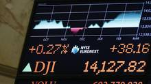 A board displays the Dow Jones Industrial average after the close at the New York Stock Exchange, March 4, 2013. (BRENDAN MCDERMID/REUTERS)