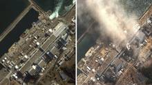 A combination of handout satellite images show the Fukushima Daiichi nuclear plant on November 21, 2004 (L) and on March 14, 2011 (R) as the No.3 nuclear reactor is burning after a blast following an earthquake and tsunami. (Handout/DigitalGlobe/Handout/DigitalGlobe)
