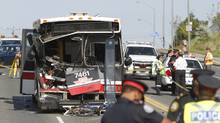 Toronto Police at the scene of a collision involving a TTC bus on Lawrence Avenue at Don Valley Parkway, Toronto August 30, 2011. (Fernando Morales/The Globe and Mail/Fernando Morales/The Globe and Mail)