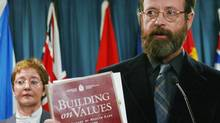 "Michael McBane, coordinator of the Canadian Health Coalition, holds a copy of the Romanow report on health care in Canada during news conference in Ottawa Tuesday, February 4, 2003. McBane says there are different standards of health care in different provinces, depending on which ones have more money. A new health survey conducted by Nanos Research and commissioned by the Canadian Health Coalition, says a majority of Canadians agree that the federal government plays a ""significant leadership role in securing the future of public health care in Canada."" (FRED CHARTRAND/CP)"